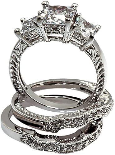 INTRICATE 4 CT Princess Cut Cubic Zirconia Bridal Engagement Wedding Ring SIZE 5