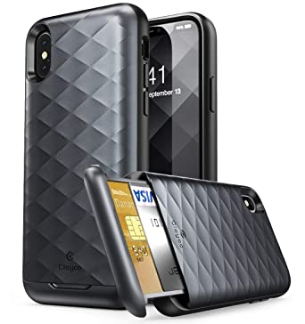huge discount 12f64 f656d Clayco iPhone X Case, [Argos Series] Premium Hybrid Protective Wallet Case  for Apple iPhone X (Built-in Credit Card/ID Card Slot) (Black)