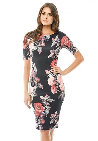 2ce1dc061730 AX Paris Women s Floral Printed 3 4 Sleeve Midi Dress at Amazon ...