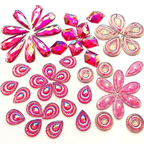 (Sparkly Amazingly Drop 60pcs Pink AB Sew On Rhinestones Flatback Sewing for for Prom Ball Party Dresses Accessories)