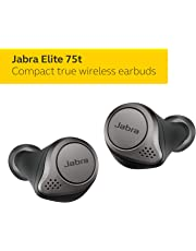Jabra Elite 75t True Wireless Earbuds Bluetooth in-Ear Headphones with Earphones Charging Case & One-Touch Amazon Alexa & up to 28 Hours Battery, Titanium Black