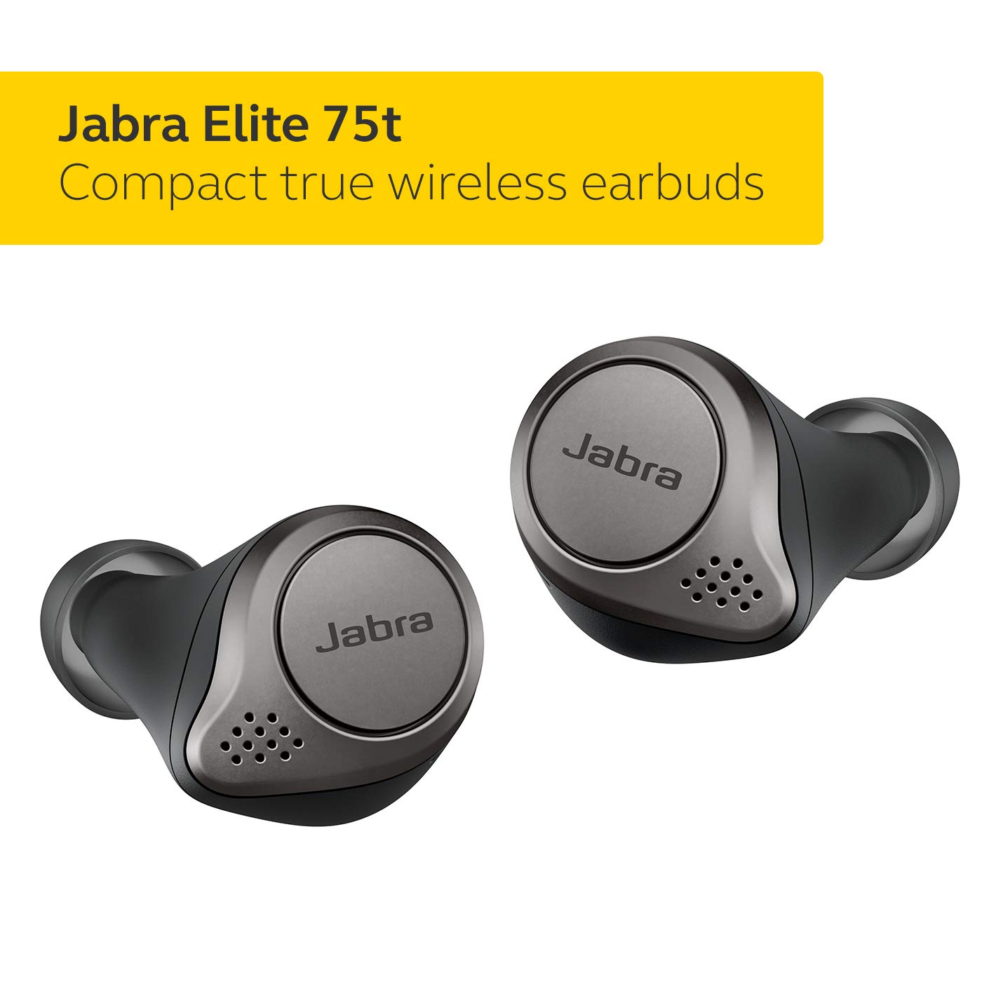 Jabra Elite 75t Earbuds - Alexa Enabled, True Wireless Earbuds with Charging Case, Titanium Black - Bluetooth Earbuds with a More Comfortable, Secure Fit, Long Battery Life and Great Sound Quality by Jabra