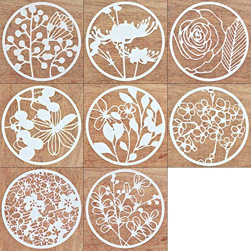 8Pcs Creative DIY Plastic Stencil Plant Flower Pattern Template Reusable Round Painting Bullet Journal Stencils for Scrapbooking