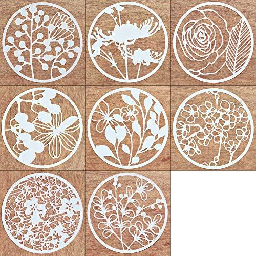 8Pcs Creative DIY Plastic Stencil Plant Flower Pattern Template Reusable Round Painting Bullet Journal Stencils for - Painting Floral Flower