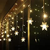CurioCity Snowflakes Fairy Light String Curtain with 16 Hanging Snowflakes, 8 Flashing Modes - Birthday, Festival, Wedding, Party Decoration for Home, Lawn, Restaurants (Bright Golden/Warm-White)