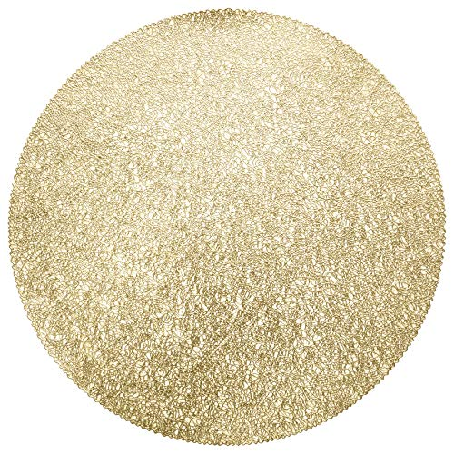 """"""" OCCASIONS"""" 10 PACK Pressed Vinyl Metallic Placemats/Charger/Wedding Accent Centerpiece (10, Glam Round, Gold)"""