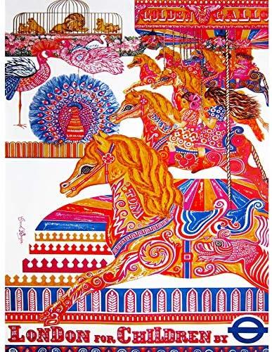 VINTAGE ADVERT LONDON CHILDREN CAROUSEL HORSE LION ART POSTER PRINT LV4537
