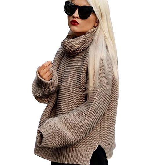 Suéter de Mujer Invierno Jersey Mujer Cuello Alto Mujeres de Manga Larga Suelta Cuello Alto de Punto suéter Jumper Prendas de Punto Blusa Superior suéter de ...