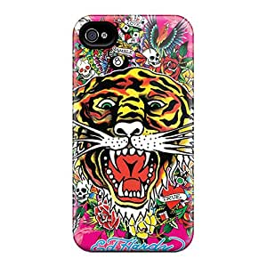 Protector Hard Phone Case For Apple Iphone 4/4s With Support Your Personal Customized Fashion Ed Hardy Tiger Series Icase88