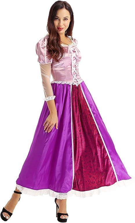 TiaoBug Disfraz de Princesa Mujer Vestido Largo Fiesta Morado ...