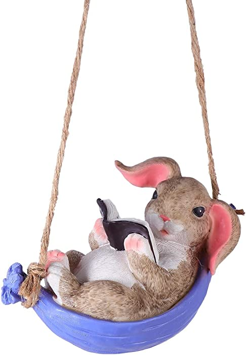 HEMOTON Swing Cute Resin Rabbit Outdoor Garden Statue Landscape Hanging Decoration Simulation Reading Book Bunny Home Animal Statue Gifts
