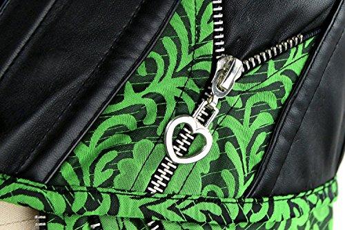Charmian Women's Steampunk Brocade Steel Boned Underbust corsé with Hip Panels Verde