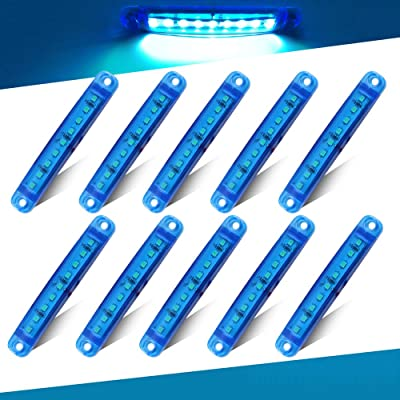 Teguangmei 10Pcs 12-24V 3.9'' Thin Blue Led Side Marker Indicator Lights 9LED Waterproof for Trailer Clearance Lights Truck Position Lights Lorry Warning Lights: Automotive