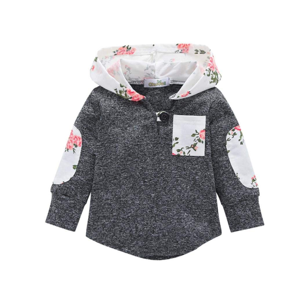 DIGOOD Toddler Baby Boys Girls Floral Pocket Hooded Sweatshirt Pullover,Autumn Warm Jacket Cloak Kids Clothes