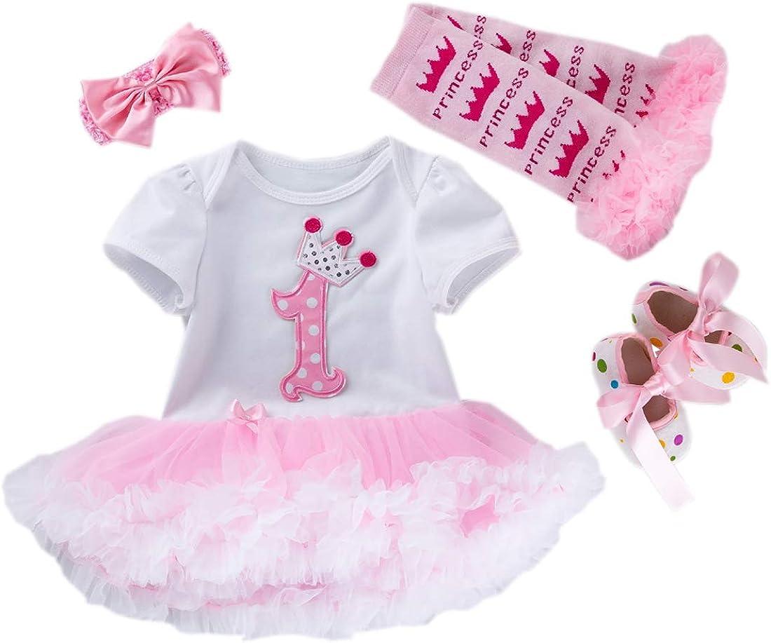 vestito, scarpette, scaldamuscoli e fascia colore: rosa acceso Marlegard/® 4 pezzi tuta per neonata in stile tut/ù