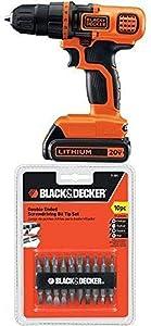 Black & Decker LDX120C 20-Volt MAX Lithium-Ion Cordless Drill/Driver w/ 71-081 Double Ended Screwdriving Bit Set, 10-Piece