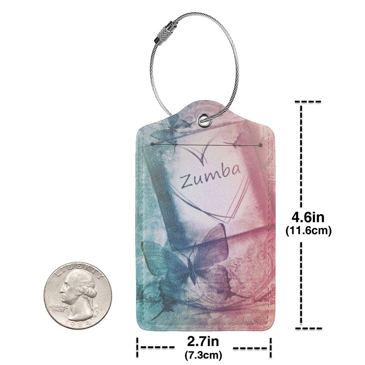 Luggage Tags PU Leather Suitcase Card Tag With Stainless Steel Loop Travel Baggage Handbag Tag Labels Travel Accessories Zumba Book Butterfly Paper set of 4