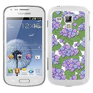 Funda carcasa para Samsung Galaxy Trend Plus diseño estampado flores malva con fondo verde borde blanco