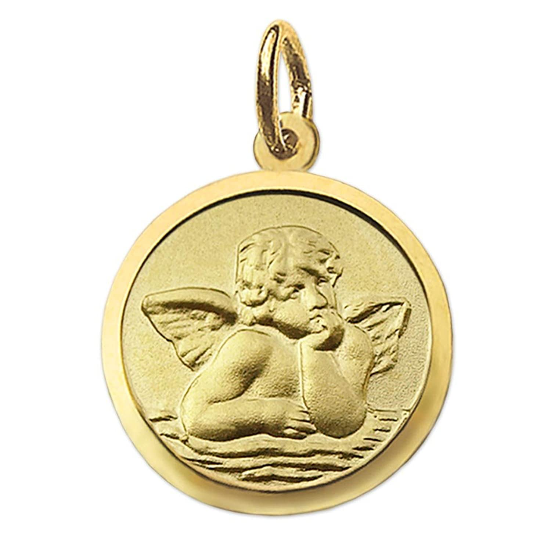 6defccb14b8f Chic CLEVER SCHMUCK  Clever joyas dorado pequeño colgante ángel redondo  Diámetro 10 mm Mate y