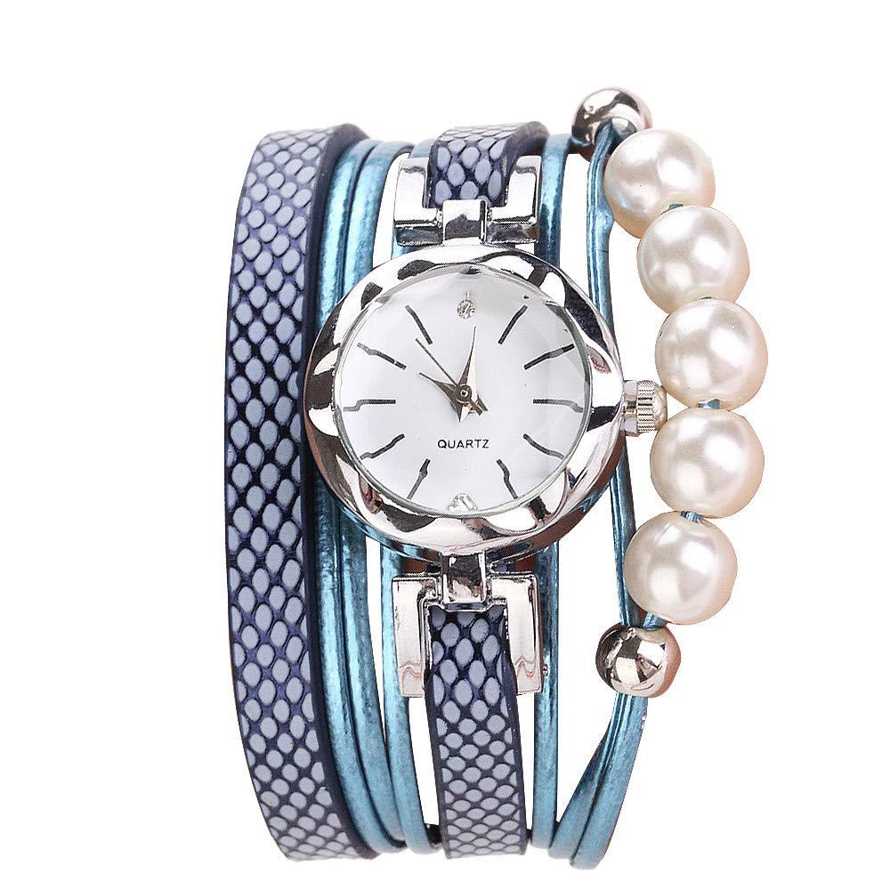 Women Quartz Watch,Lovewe CCQ Women Fashion Casual Analog Quartz Women Rhinestone Pearl Bracelet Watch (B)