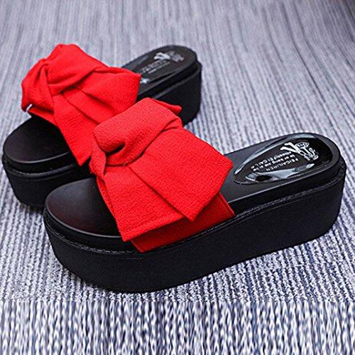 ... Hunpta Frauen Comfy Plain Gummi Pantoffeln Flip Flop Bogen Sliders High  Heel Sandalen Rot