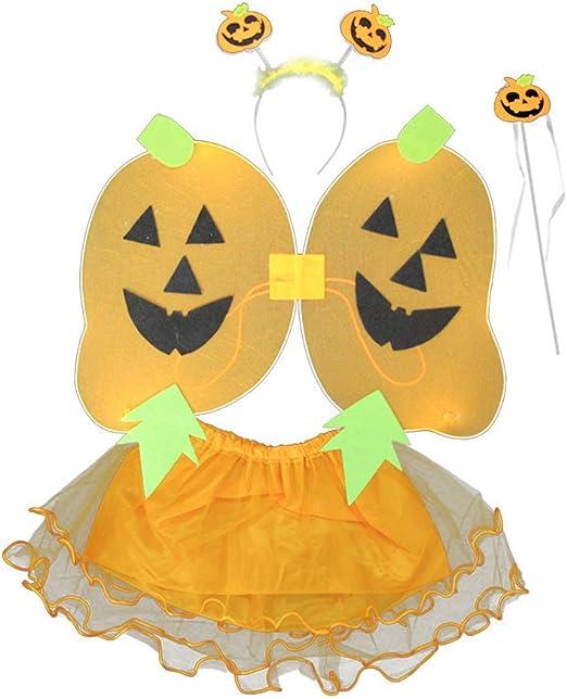 ZQEU Juego de Disfraz de Calabaza para niñas con Falda de ala de ...