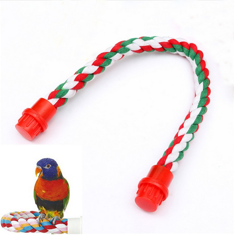 mkki Colorful Fashion Parrot Bird Toys Decorative Pet Bird Parrot Standing Rope Cockatiel Parakeet Conure Cage Swing Perch Toy