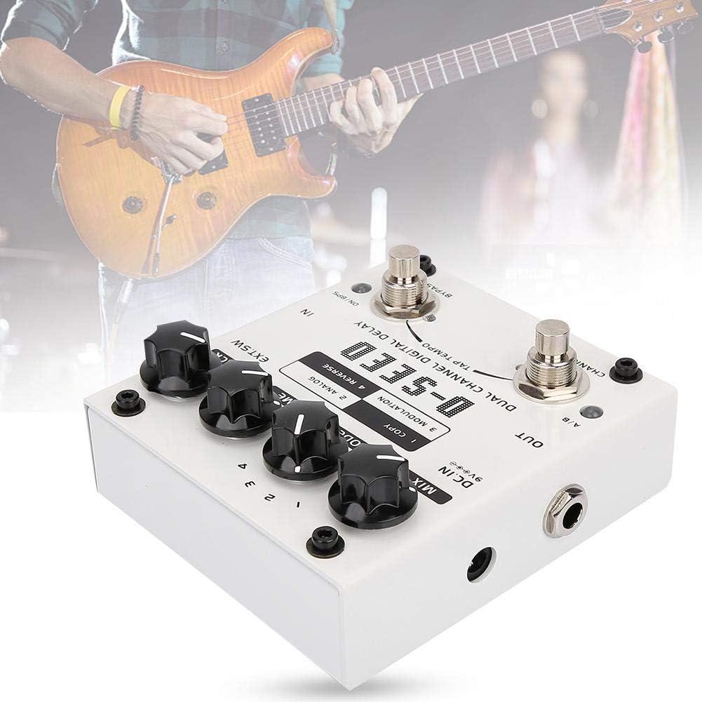 Naroote 【𝐇𝐚𝐩𝐩𝒚 𝐍𝐞𝒘 𝐘𝐞𝐚𝐫 𝐆𝐢𝐟𝐭】 Pedal de Efecto de Guitarra, D-Seed Dual Channel Digital Delay Pedal de Efecto de Guitarra eléctrica 4 Modos 17ms-1000ms