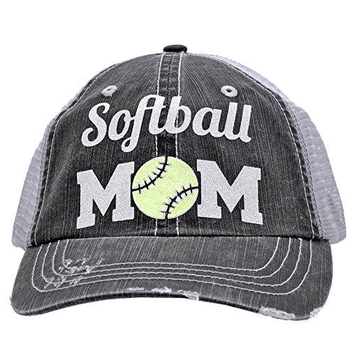 Baseball Moms Rock (Softball Mom Sports Distressed Trucker Style Cap Hat Rocks any Outfit Grey (Yellow))