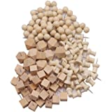LAOZHOU 144 Pack 4 Style Wood Push Pins Wood Head with Steel Point (144 Pack)