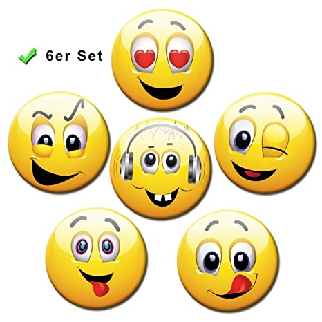 Imanes de Smiley – Ø 5 cm – juego de 6 imanes de nevera con caras felices