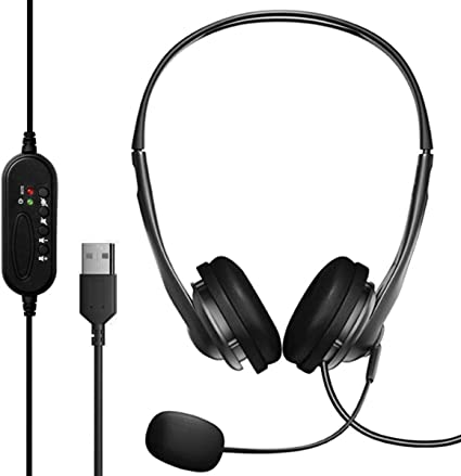 USB Headset with Microphone for PC Computer Laptop Zoom Call Center Lightweight Headphones with mic Boom Video Conference Calls Skype