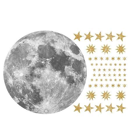 AUNMAS Luna y Estrellas Patrón Etiqueta de La Pared Extraíble ...