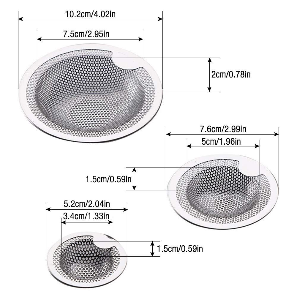 IWILCS 3 Unidades Desag/üe Colador Acero Inoxidable Disponible en Tres tama/ños colador Ducha Ideal para Cocina Lavabo Filtro de desag/üe Desag/üe Tamiz Ba/ñera