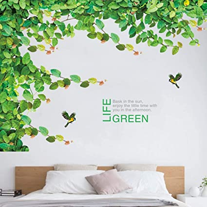 Iwallsticker Ivy Wall Sticker Tree For Bedroom Living Room Branch Vine And Flying Birds Wallpaper 2pcs Set Removable Plant Wall Decals Extra Large