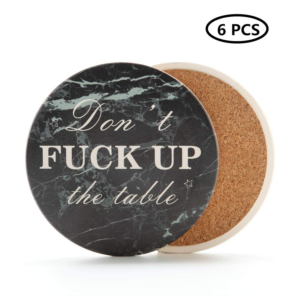 Renba Set of 6 pcs Coasters For Drinks - Moisture Absorbing Stone Coasters With Cork Base,Black Marble Style Cork Backing,Protects Furniture From Damage (6 PCS)