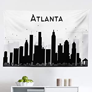 "Lunarable Atlanta Tapestry, Monochrome Silhouettes of Buildings in Georgia Traveling Theme Skyscrapers, Fabric Wall Hanging Decor for Bedroom Living Room Dorm, 45"" X 30"", Black Charcoal"