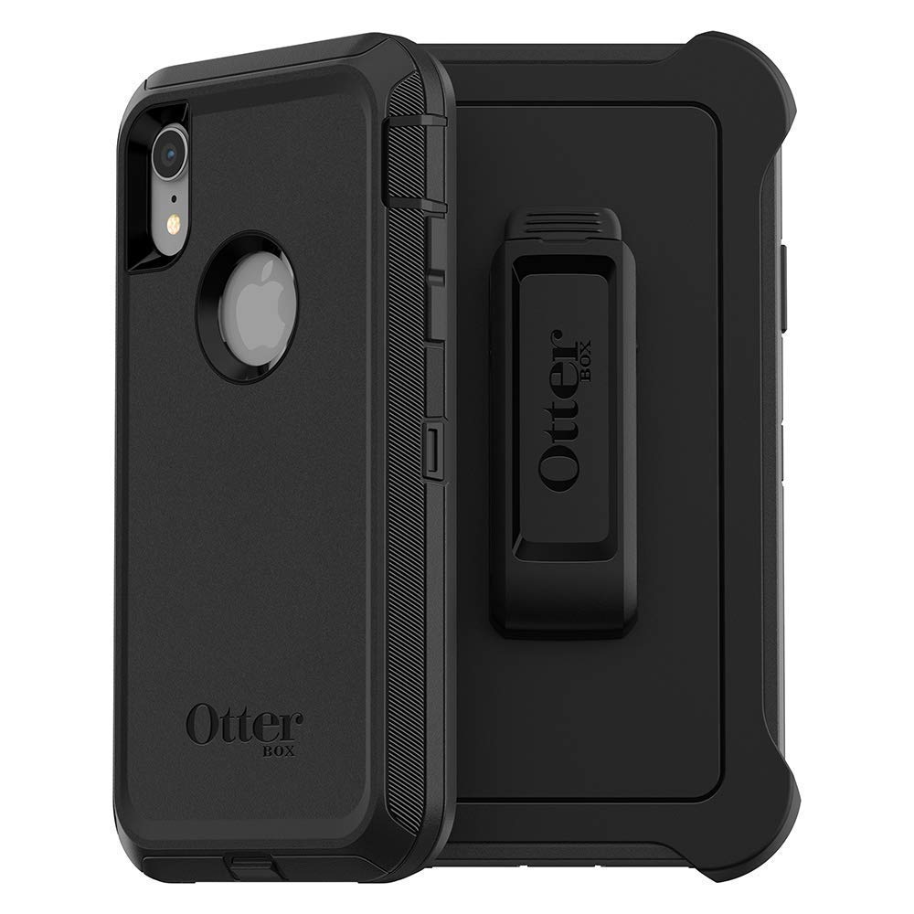 WMT OtterBox Defender Case for iPhone XR and Belt Clip fits OtterBox with Screen Protector - Black