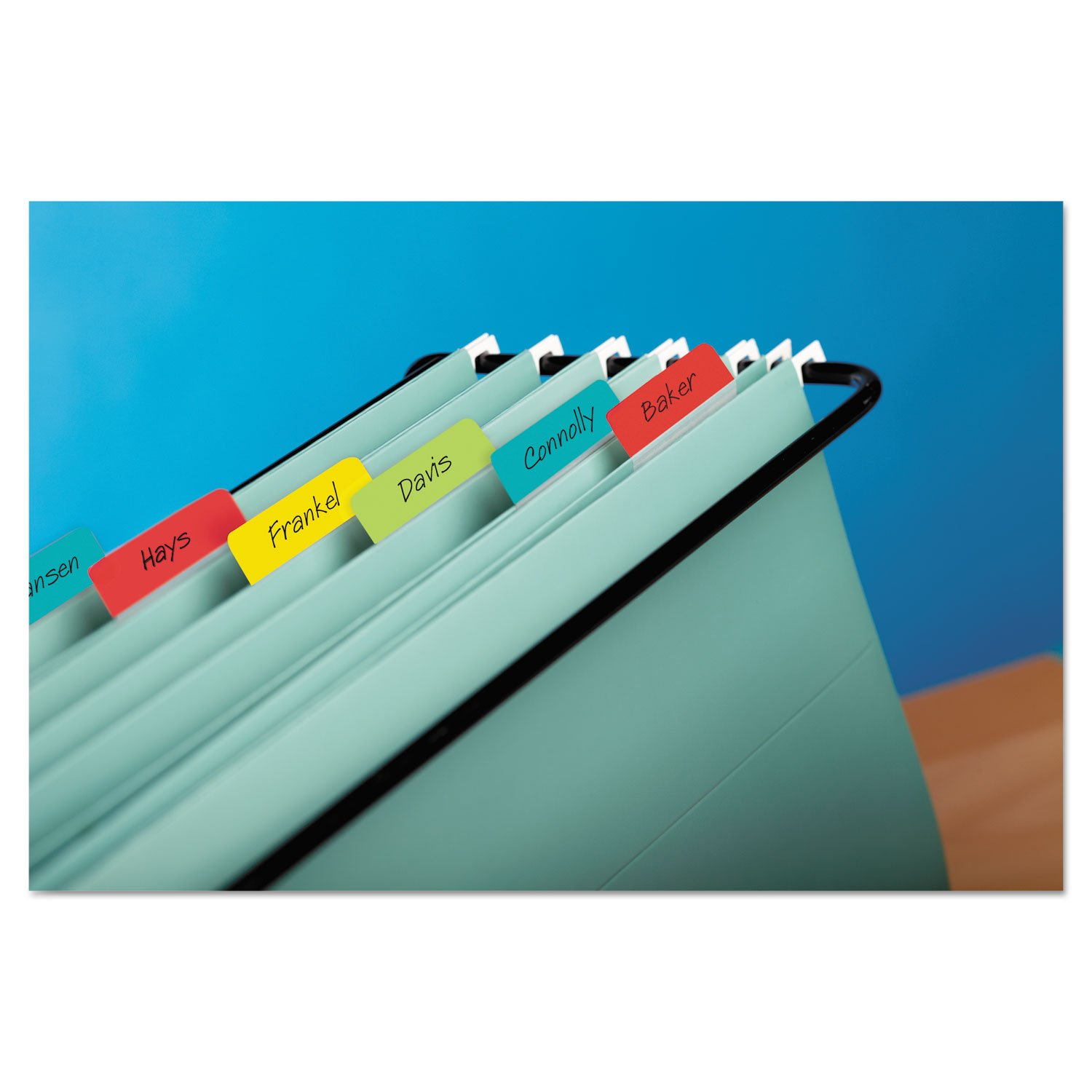 Post-it 686AALYR Angled Tabs, 2 x 1 1/2, Solid, Aqua/Lime/Red/Yellow, 24/Pack