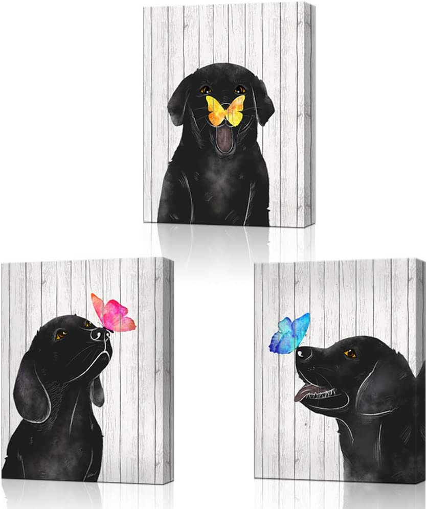 """LoveHouse Framed Colorful Butterfly and Dog Wall Art Animal Theme Nursery Room Decor Black and White Wood Background Giclee Prints Gallery Wrap Ready to Hang 12""""x16""""x3pcs (Dog)"""