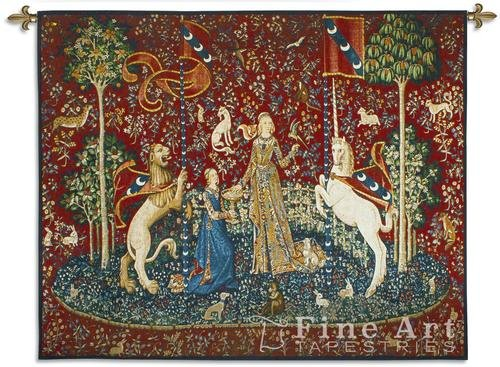 The Lady and the Unicorn Taste Hand Finished European Style Jacquard Woven Wall Tapestry USA Size 51x62 ()