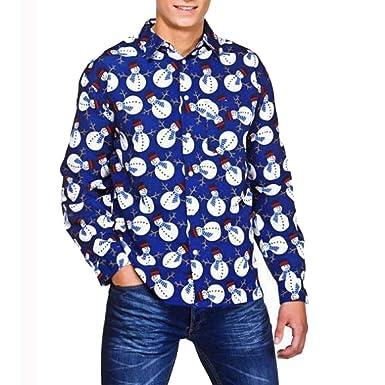 Camisas de Hombre Rovinci Casual Otoño Invierno 3D Navidad Santa Elk Muñeco de Nieve Camisa Delgada de Manga Larga Tops Blusas, Liquidación: Amazon.es: Ropa ...