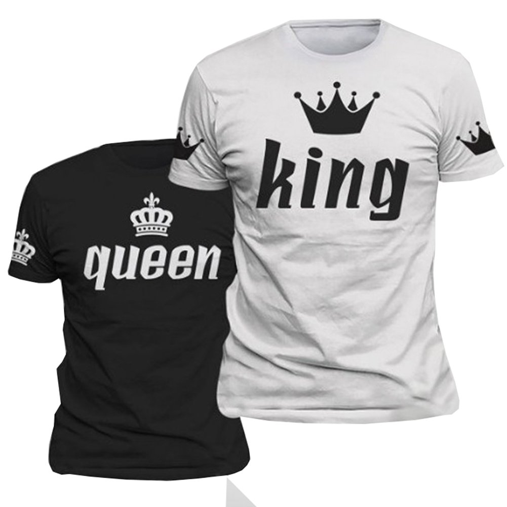 e1b3cb7e1f D-Sun King and Queen Fashion Crowns Loose Short Sleeve Couple T-Shirt, 1  Pcs | Amazon.com
