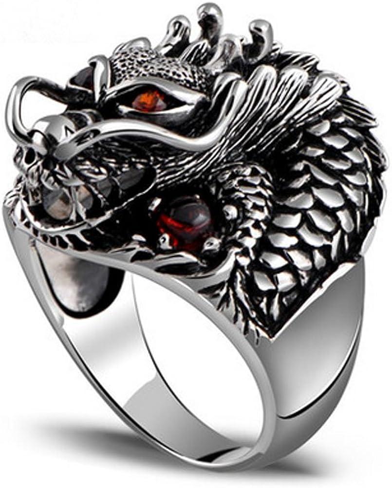 Anillo vintage Jade Angel Jewelry, de plata de ley para hombre, diseño de dragón