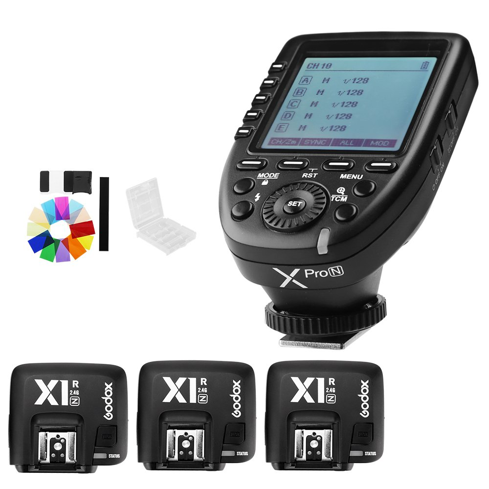 Godox Xpro-N i-TTL II 2.4G X System Wireless Control Remote Trigger with 3X X1R-N Controller Receiver Compatble for Nikon Flash