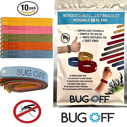 BUG OFF Mosquito Repellent Bracelet Family (10-Pack) Bundle - Co2 Detector For Airplane