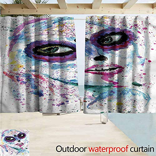Indoor/Outdoor Top Curtain Girls Halloween Lady Make Up Simple Stylish Waterproof W55x72L Inches]()