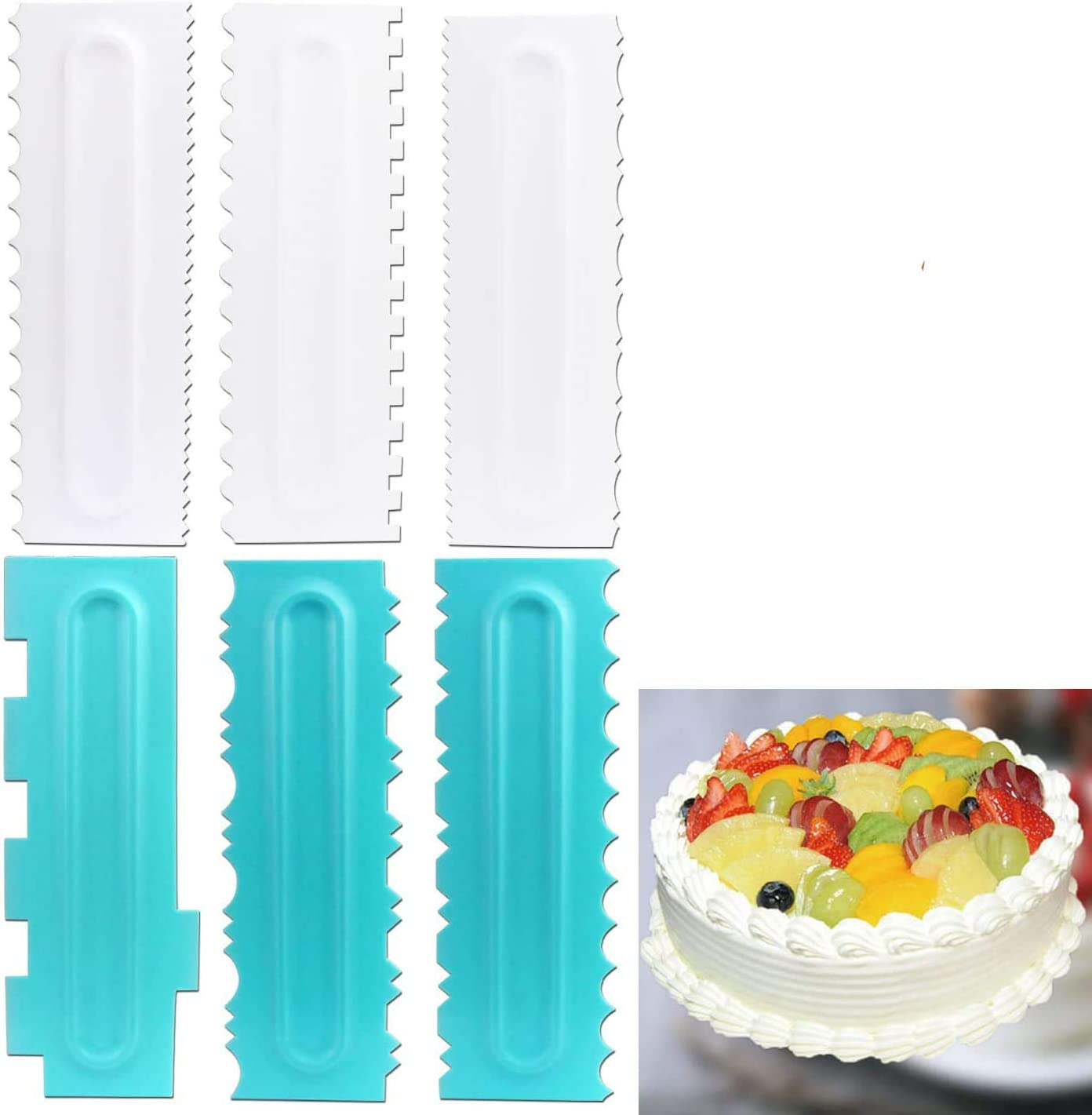 Chistepper 6 Pieces Cake Scrapers Set Bakeware Sculpting Modeling Tools Cake Decorating Comb and Icing Smoother Sawtooth Cake Scraper Decorating Tools