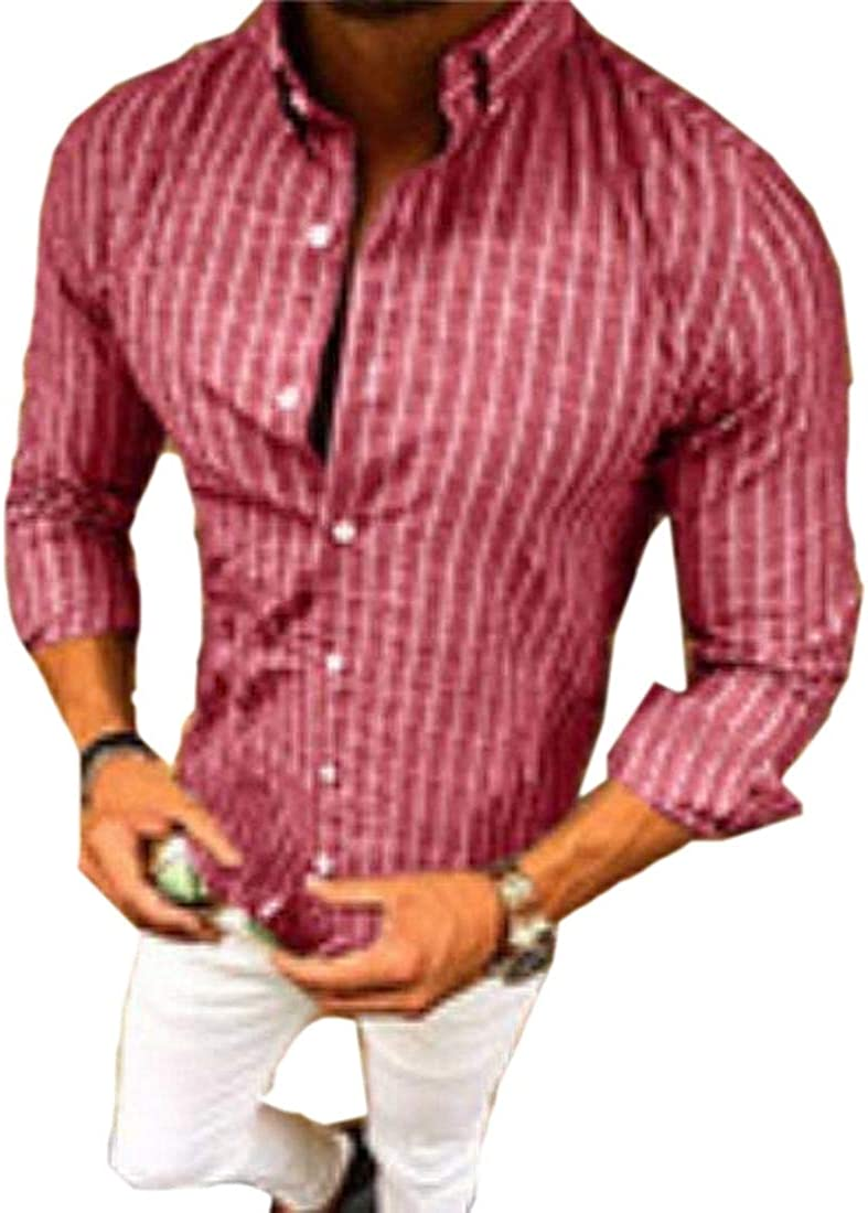 WSPLYSPJY Mens Relaxed Fit Button Collar Formal Vogue Stripe Woven Shirt