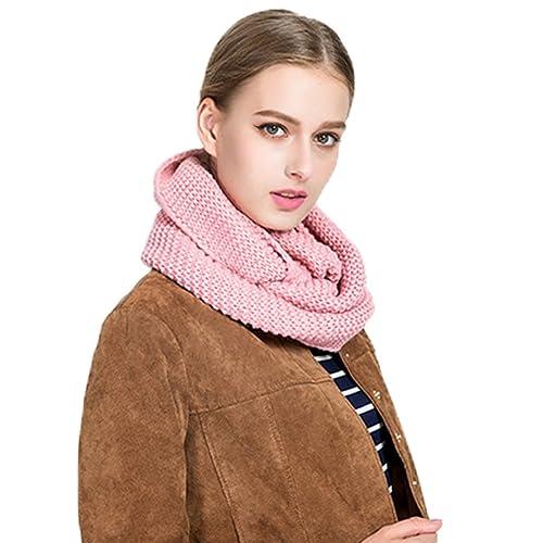 Bufanda de las mujeres, bufanda del cuello de las mujeres bufanda hecha punto de las bufandas del color sólido de la manera caliente del invierno bufanda hecha punto de las mujeres (rosado)